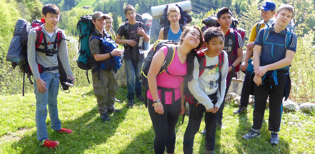 International Award Bronze students on their Adventurous Journey hike to Aigle.
